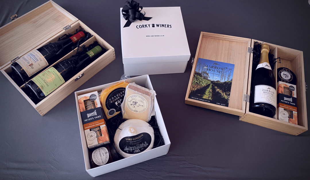 Corky Winers luxury gifts including a cheese box and fine wine gifts based in Maldon, Essex